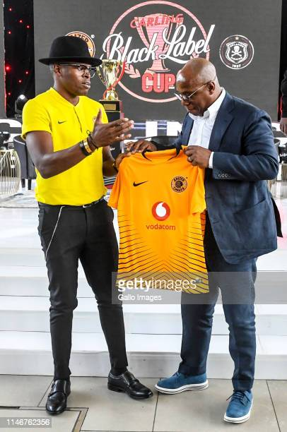 Ian Wright of England and Willard Katsande of Kaizer Chiefs pose with a football shirt during the Carling Black Label media launch at Park Station on...