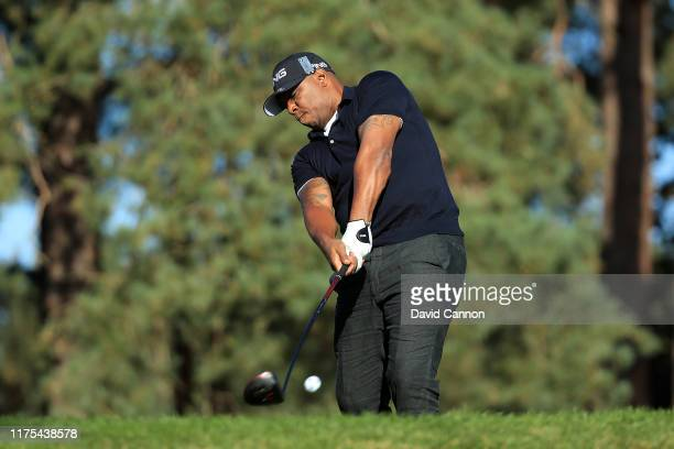 Ian Wright plays a shot during the BMW PGA Championship ProAm at Wentworth Golf Club on September 18 2019 in Virginia Water United Kingdom