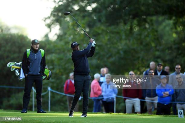 Ian Wright tees off from the 4th during the BMW PGA Championship ProAm at Wentworth Golf Club on September 18 2019 in Virginia Water United Kingdom