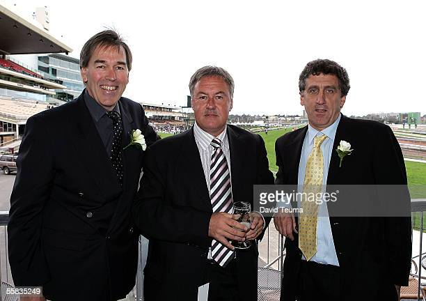 Ian Yeates Peter Louring and Phillip Auton pose during the Melbourne Cup Carnival Preview at Flemington October 1 2005 in Melbourne Australia