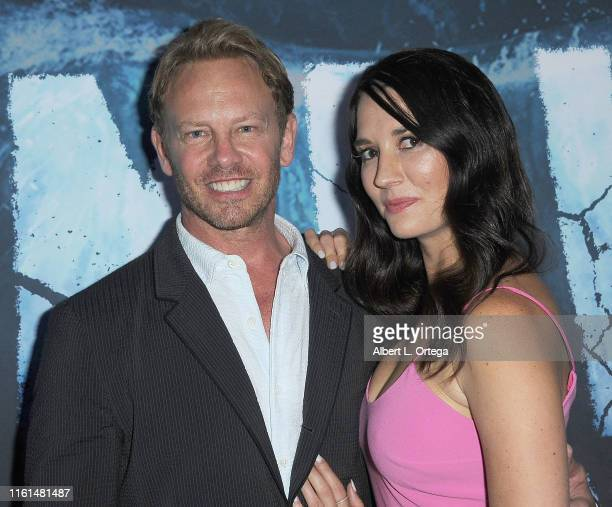 Ian Ziering and Erin Ziering arrive for the Premiere Of SyFy's Zombie Tidal Wave held at The Garland Hotel on August 12 2019 in North Hollywood...