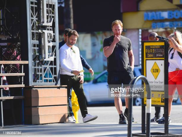 Ian Ziering and Jason Priestley are seen on February 08, 2020 in Los Angeles, California.