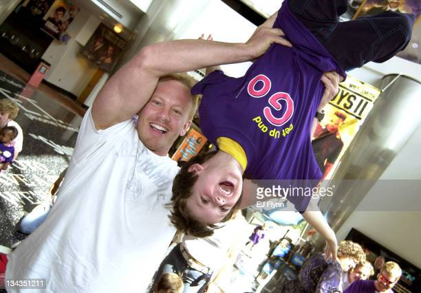 Ian Ziering and Zachary Weiser age 4 during Ian Ziering Helps Kick Off Teletubbies Get Up and Go National Excercise Program in Orange California...