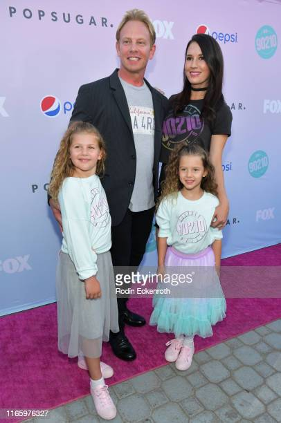 Ian Ziering Erin Kristine Ludwig and daughters Mia Loren Ziering and Penna Mae Ziering attend Beverly Hills 90210 Peach Pit PopUp on August 03 2019...