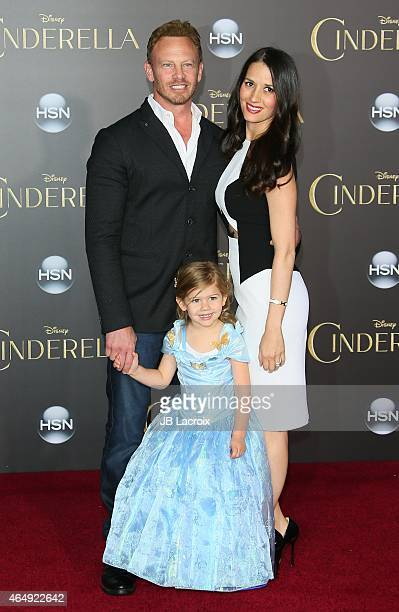 Ian Ziering, Erin Kristine Ludwig and Mia Loren Ziering attend the premiere of Disney's 'Cinderella' at the El Capitan Theatre on March 1, 2015 in...