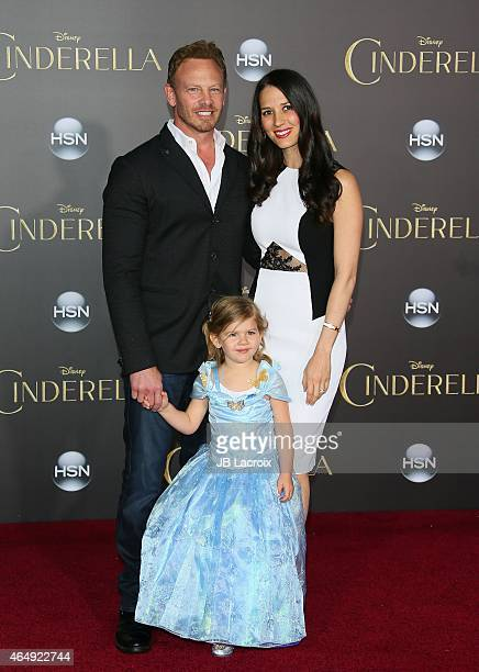 Ian Ziering Erin Kristine Ludwig and Mia Loren Ziering attend the premiere of Disney's 'Cinderella' at the El Capitan Theatre on March 1 2015 in...