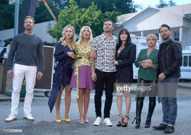 Ian Ziering Jennie Garth Tori Spelling Brian Austin Green Shannen Doherty Gabrielle Carteris and Jason Priestley in the BH90210 Table Read episode...