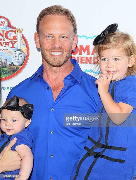 Ian Ziering Mia Loren Ziering and Penna Mae Ziering attends the 'Thomas Friends King Of The Railway The Movie' Los Angeles Premiere held at Pacific...
