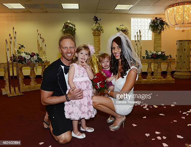 Ian Ziering Mia Ziering Penna Ziering and Erin Ziering pose for a photo following Ian and Erin Ziering's marriage vow renewal ceremony to sanctify...