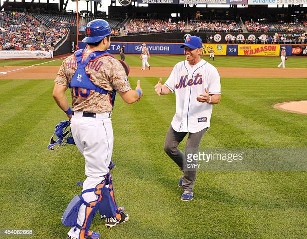 ONE 'Ian Ziering Throws First Pitch at Citi Field' Pictured Travis D Arnaud Ian Ziering