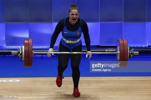 Iana Sotieva of Russia competes in the Women's 76 kg final within the Weightlifting European Championships 2021 in Moscow, Russia on April 08, 2021....