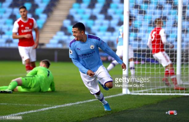 Iancarlo Poveda of Manchester City celebrates scoring his teams first goal during the Premier League 2 between Manchester City v Arsenal at...