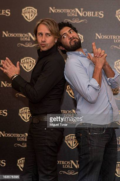 Ianis Guerrero and Carlos Gascon pose for a photo during the photocall of the movie Nosotros Los Nobles on March 12 2013 in Mexico City Mexico