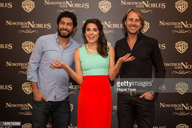 Ianis Guerrero Karla Souza and Carlos Gascon pose for a photo during the photocall of the movie Nosotros Los Nobles on March 12 2013 in Mexico City...