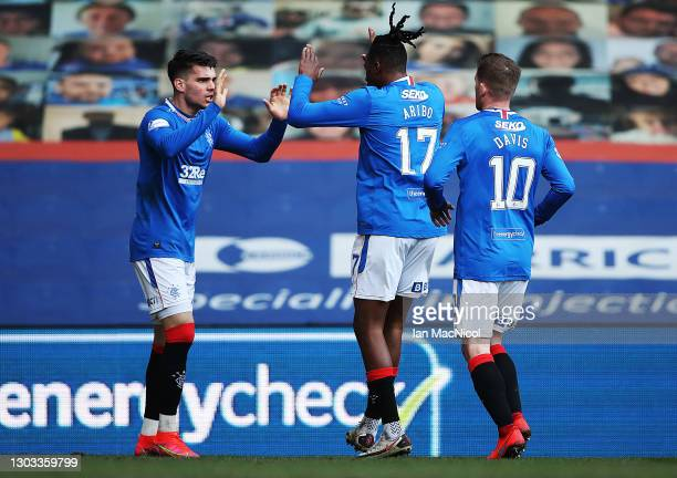 Ianis Hagi of Rangers celebrates scoring the opening goal during the Ladbrokes Scottish Premier League match between Rangers and Dundee United at...