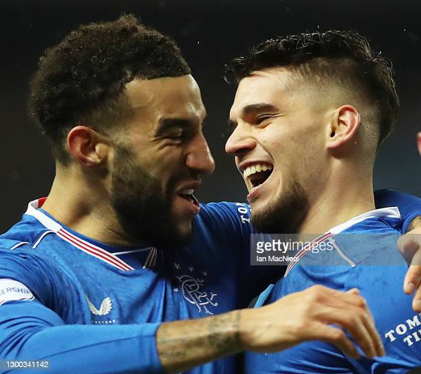 Ianis Hagi of Rangers celebrates with Connor Goldson after scoring the only goal of the game during the Ladbrokes Scottish Premiership match between...