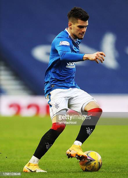 Ianis Hagi of Rangers controls the ball during the Ladbrokes Scottish Premiership match between Rangers Ross County at Ibrox Stadium on January 23,...
