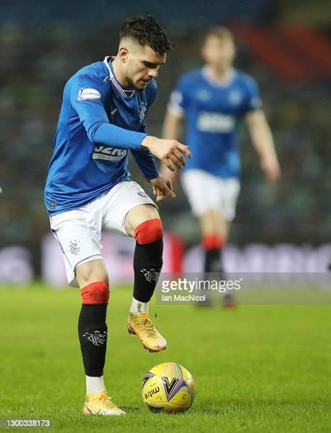 Ianis Hagi of Rangers controls the ball during the Ladbrokes Scottish Premiership match between Rangers and St Johnstone at Ibrox Stadium on February...