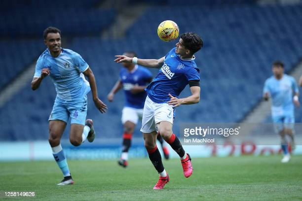 Ianis Hagi of Rangers controls the ball during the pre season friendly match between Rangers and Coventry City at Ibrox Stadium on July 25 2020 in...