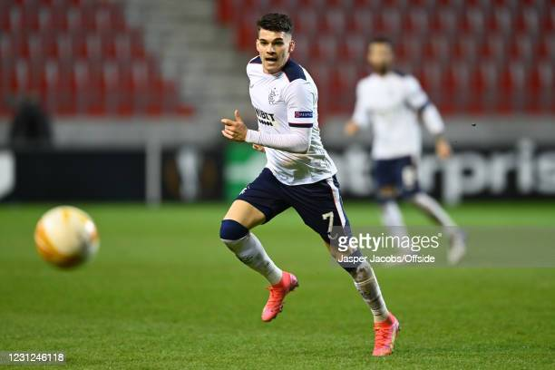 Ianis Hagi of Rangers during the UEFA Europa League Round of 32 match between Royal Antwerp FC and Rangers FC at Bosuilstadion on February 18, 2021...