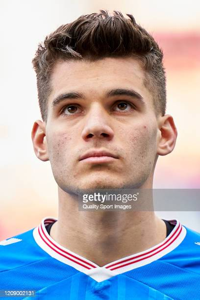 Ianis Hagi of Rangers FC looks on prior to the UEFA Europa League round of 32 second leg match between Sporting Club Braga and Rangers FC at Estadio...