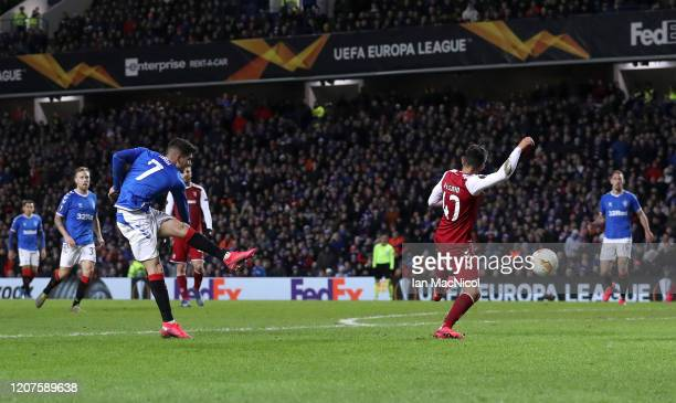 Ianis Hagi of Rangers FC scores his sides first goal during the UEFA Europa League round of 32 first leg match between Rangers FC and Sporting Braga...