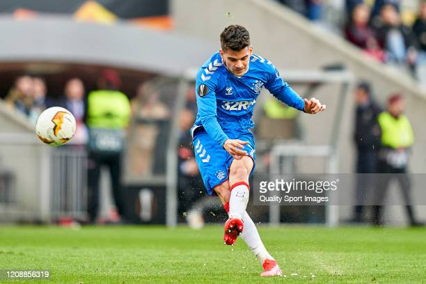 Ianis Hagi of Rangers FC shoots on goal during the UEFA Europa League round of 32 second leg match between Sporting Club Braga and Rangers FC at...