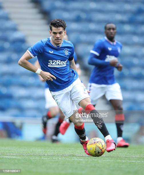 Ianis Hagi of Rangers is seen in action during the pre season friendly match between Rangers and Coventry City at Ibrox Stadium on July 25 2020 in...