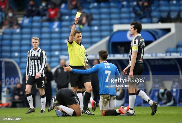 Ianis Hagi of Rangers is shown a yellow card by referee Steven McLean during the Ladbrokes Scottish Premiership match between Rangers and St. Mirren...