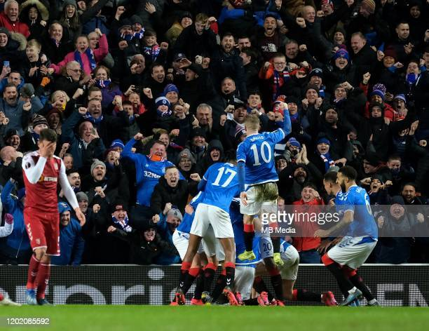 Ianis Hagi of Rangers scores to make the final score 32 during the UEFA Europa League round of 32 first leg match between Rangers FC and Sporting...