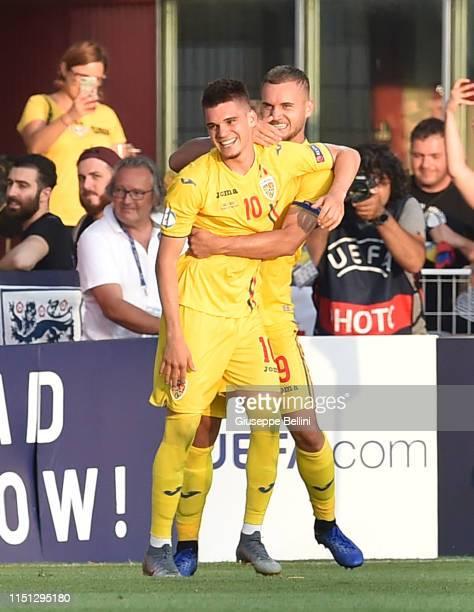 Ianis Hagi of Romania celebrates after scoring goal 1-2 during the 2019 UEFA U-21 Group C match between England and Romania at Dino Manuzzi Stadium...