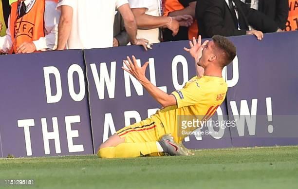 Ianis Hagi of Romania celebrates after scoring goal 12 during the 2019 UEFA U21 Group C match between England and Romania at Dino Manuzzi Stadium on...