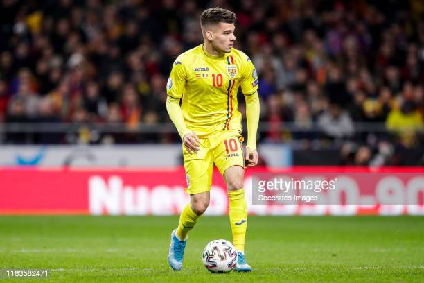 Ianis Hagi of Romania during the EURO Qualifier match between Spain v Romania at the Wanda Metropolitano stadium on November 18, 2019