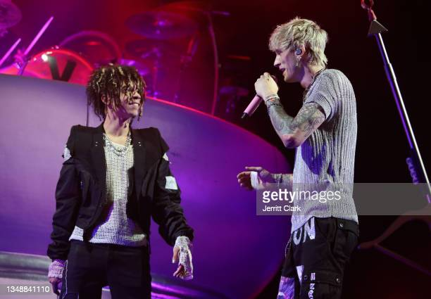 """Iann Dior and Machine Gun Kelly performs at his """"Tickets To My Downfall"""" Tour at Shrine Auditorium and Expo Hall on October 20, 2021 in Los Angeles,..."""