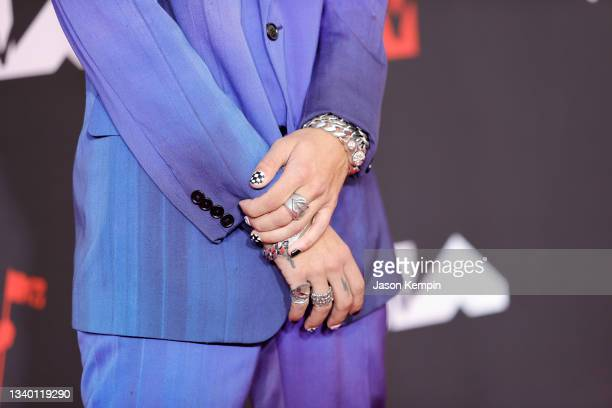 Iann Dior, jewelry detail, attends the 2021 MTV Video Music Awards at Barclays Center on September 12, 2021 in the Brooklyn borough of New York City.