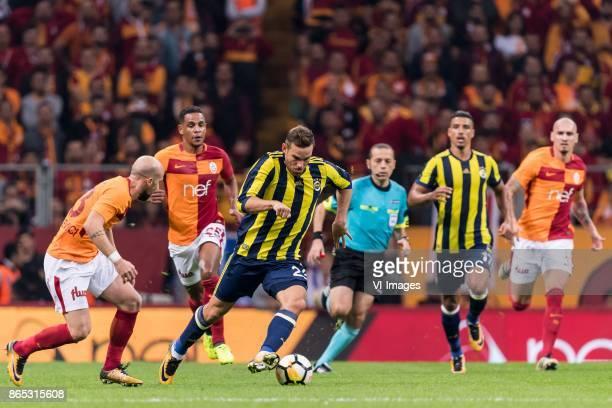 Iasmin Latovlevici of Galatasaray SK Fernando Fransisco Reges of Galatasaray SK Vincent Janssen of Fenerbahce SK Nabil Dirar of Fenerbahce SK Maicon...