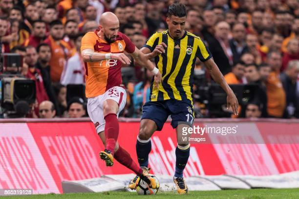 Iasmin Latovlevici of Galatasaray SK Nabil Dirar of Fenerbahce SK during the Turkish Spor Toto Super Lig football match between Galatasaray SK and...