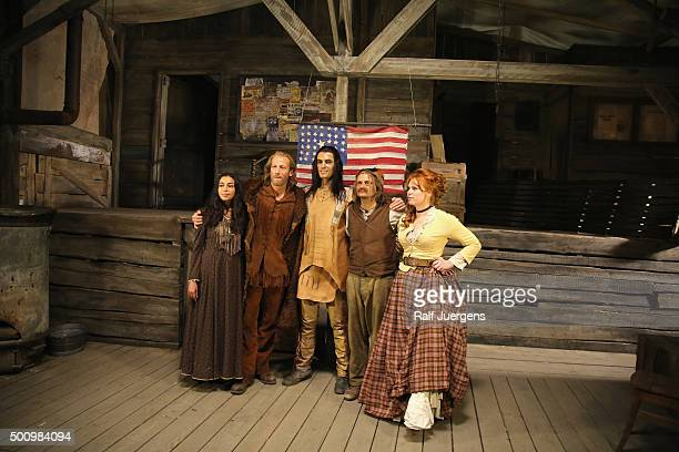 Iazua Larios, Wotan Wilke Moehring, Nik Xhelilaj, Milan Peschel, and Henny Reents pose during a photo call for the television movie 'Winnetou' at MMC...