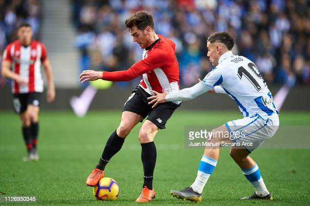 Ibai Gomez of Athletic Club being followed by Theo Hernandez of Real Sociedad during the La Liga match between Real Sociedad and Athletic Club at...