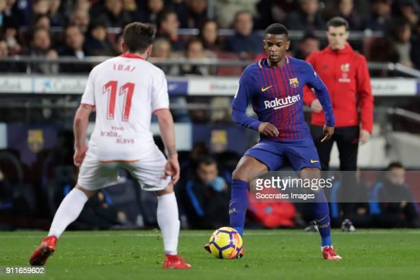 Ibai Gomez of Deportivo Alaves Nelson Semedo of FC Barcelona during the La Liga Santander match between FC Barcelona v Deportivo Alaves at the Camp...