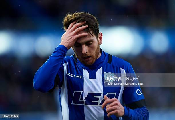 Ibai Gomez of Deportivo Alaves reacts during the La Liga match between Deportivo Alaves and Sevilla FC at Mendizorroza stadium on January 14 2018 in...