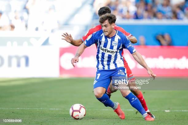Ibai Gomez Perez of Deportivo Alaves CF Didac Vila Rosello of RCD Espanyol during the La Liga Santander match between Deportivo Alaves v Espanyol at...