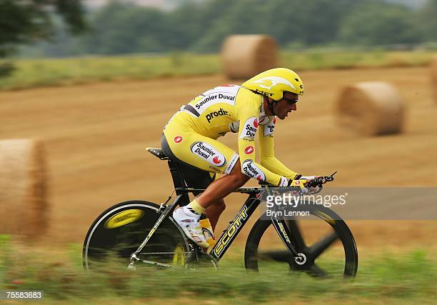 Iban Mayo of Spain and SaunierDuval rides during stage 13 of the 2007 Tour de France an individual time trial from Albi to Albi on July 21 2007 in...
