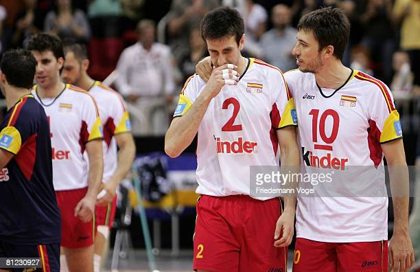 Iban Perez and Miguel Angel Falasca of Spain look on during the Men Beijing 2008 Olympic Games Qualification match between Germany and Spain at the...
