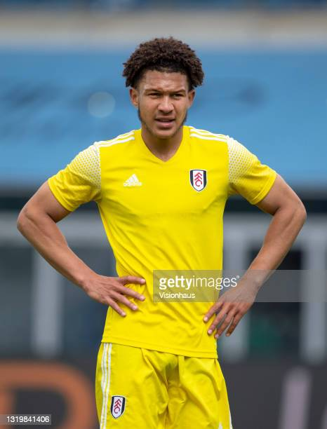 Ibane Bowat of Fulham during the U18 Premier League match between Manchester City and Fulham at The Academy Stadium on May 22, 2021 in Manchester,...