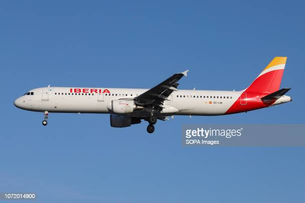 Iberia Airbus A321200 airplane is seen landing at the London Heathrow airport in England The aircraft has the name Mérida with configuration of 200...