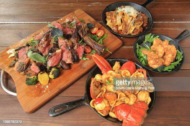 Iberico beef with potatoes mushrooms broccoli and salad Sicilian red prawns pappardelle Genovese and Orecchiette with blue lobster at Mangiare...