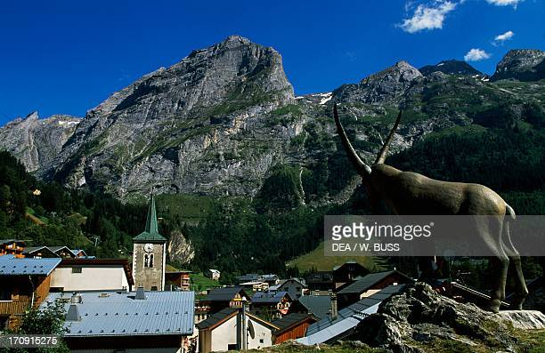 Ibex statue and view of PralognanLaVanoise Vanoise National Park Savoie France