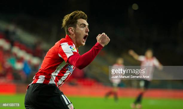Ibia Gomez Athletic Club celebrates after scoring during the La Liga match between Athletic Club Bilbao and Real Valladolid CF at San Mames Stadium...