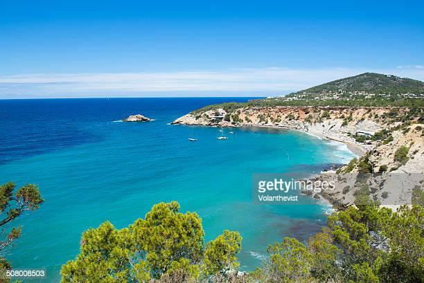 Ibiza coast and Mediterranean Sea. Beach landscape